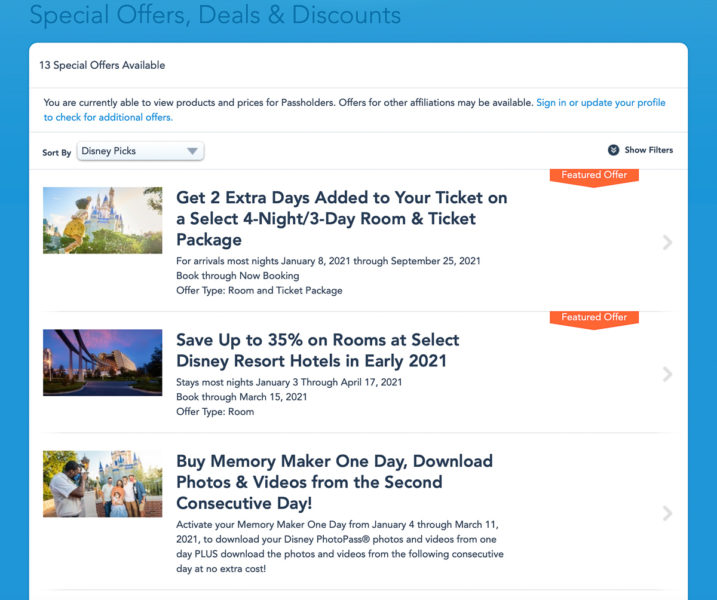 special deals for Disney World vacations on the website