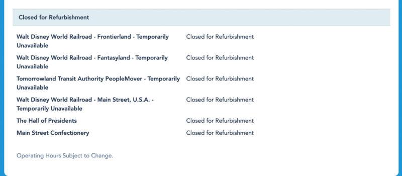 Schedule for Tomorrowland PeopleMover refurbishment
