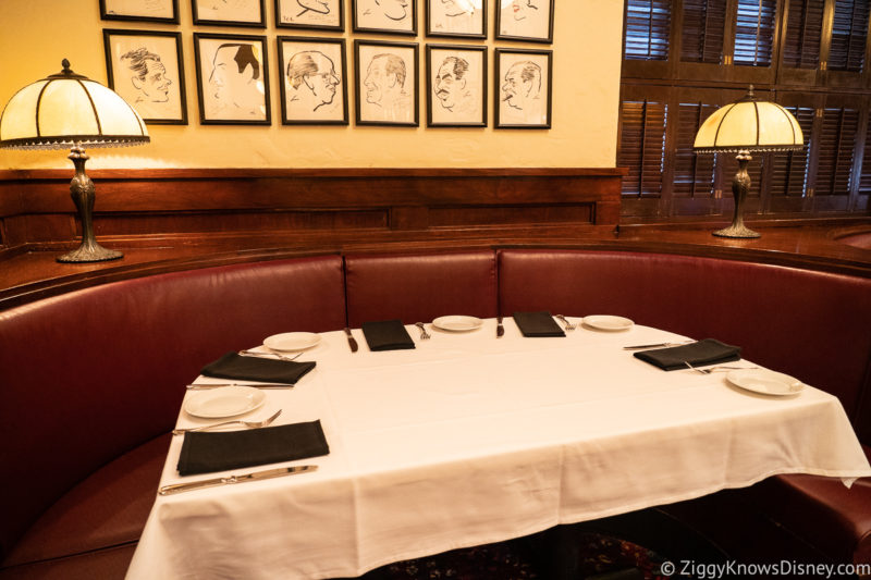 Booth at Hollywood Brown Derby Disney World