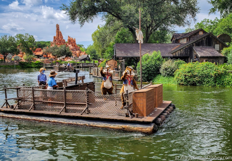 Chip and Dale on Tom Sawyer Island Rafts