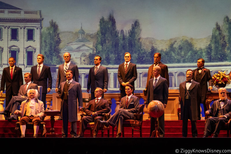 The Hall of Presidents Disney World presidents on the stage