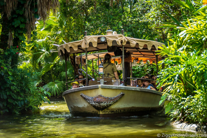 Boat riding down the river in Jungle Cruise