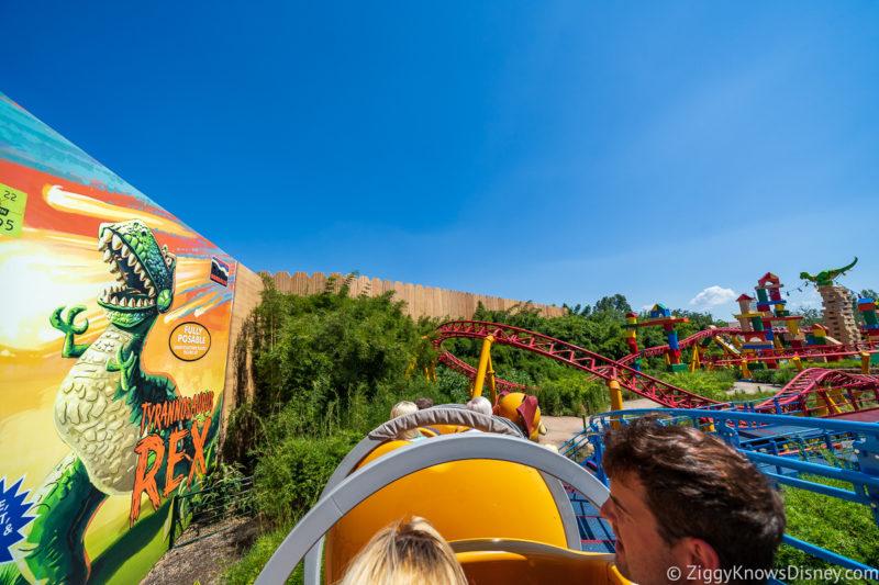 Riding past T-Rex on Slinky Dog Dash coaster