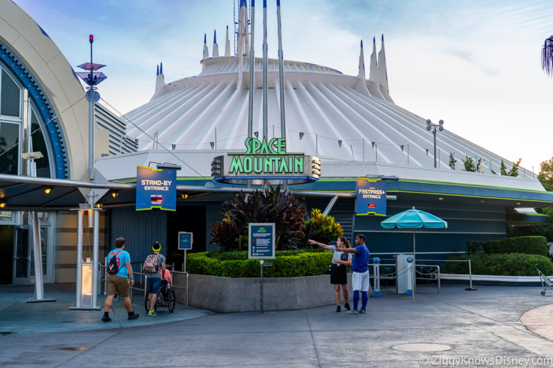 Outside the entrance to Space Mountain