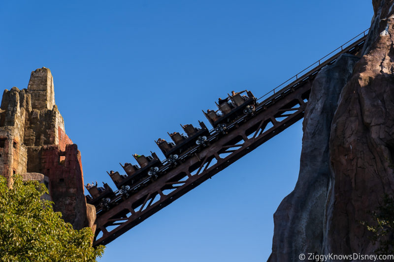 roller coaster going up the hill on Expedition Everest