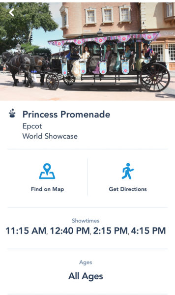 Princess Promenade Showtimes