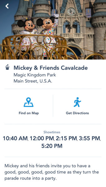 Mickey and Friends Cavalcade showtimes