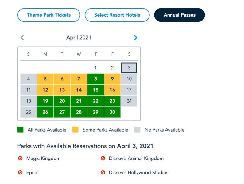 Disney Park Pass Availability Annual Passholders May 2021
