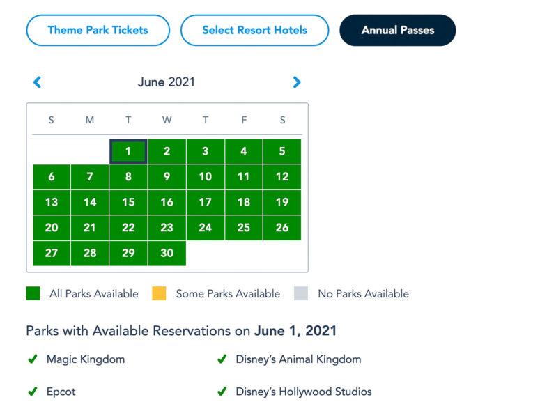 Disney Park Pass Availability Annual Passholders June 2021