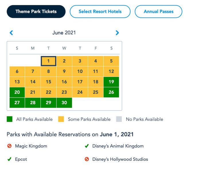 Disney Park Pass Availability Theme Park Tickets June 2021