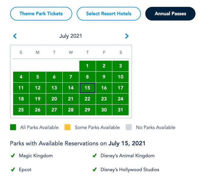 Disney Park Pass Availability Annual Passholders July 2021