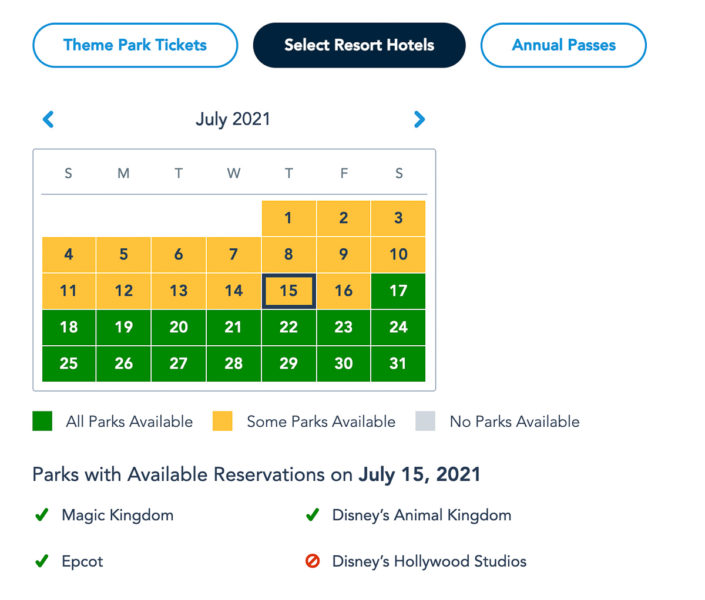 Disney Park Pass Availability Resort Guests July 2021