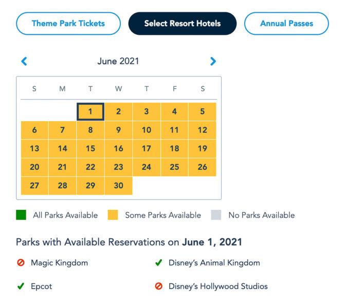 Disney Park Pass Availability Resort Guests June 2021