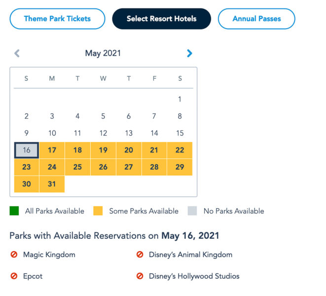 Disney Park Pass Availability Resort Guests May 2021