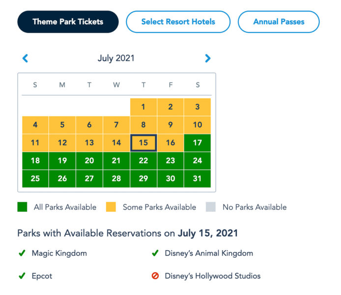 Disney Park Pass Availability Theme Park Tickets July 2021