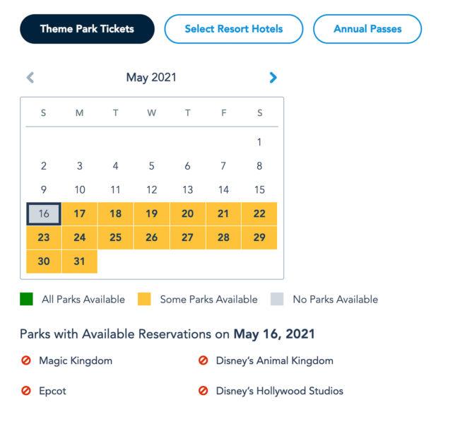 Disney Park Pass Availability Theme Park Tickets May 2021