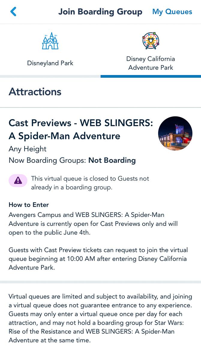 Virtual Queue for WEB SLINGERS