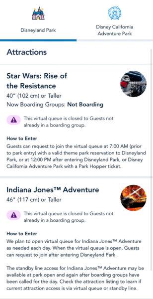 Boarding Groups at Disneyland