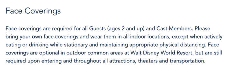 Disney World policy for face coverings