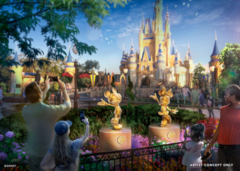 Golden Disney Character Statues at the Magic Kingdom for 50th