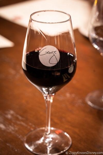 Glass of wine at Wine Bar George Disney Springs