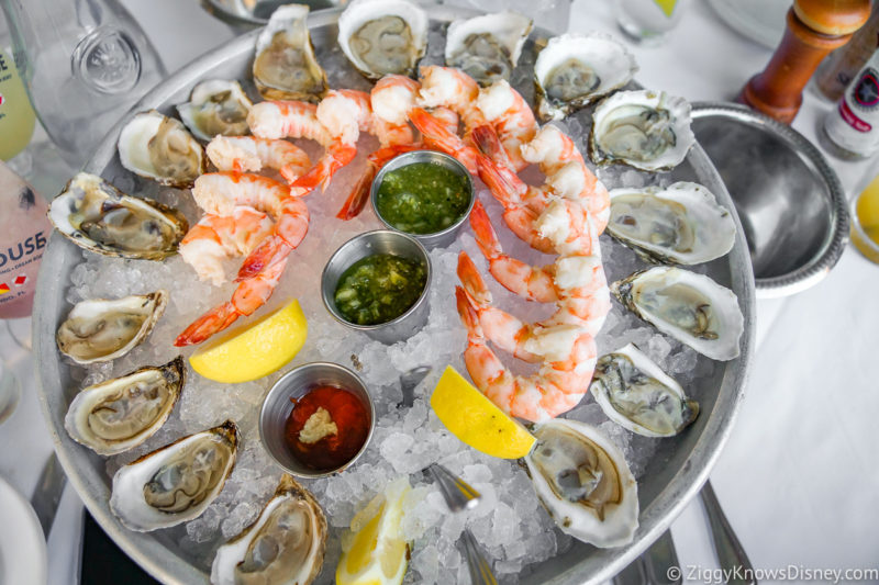 Oysters and shrimp at The Boathouse Restaurant Disney Springs