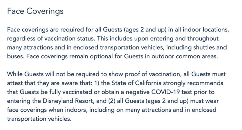 Official Disneyland Face Mask Policy