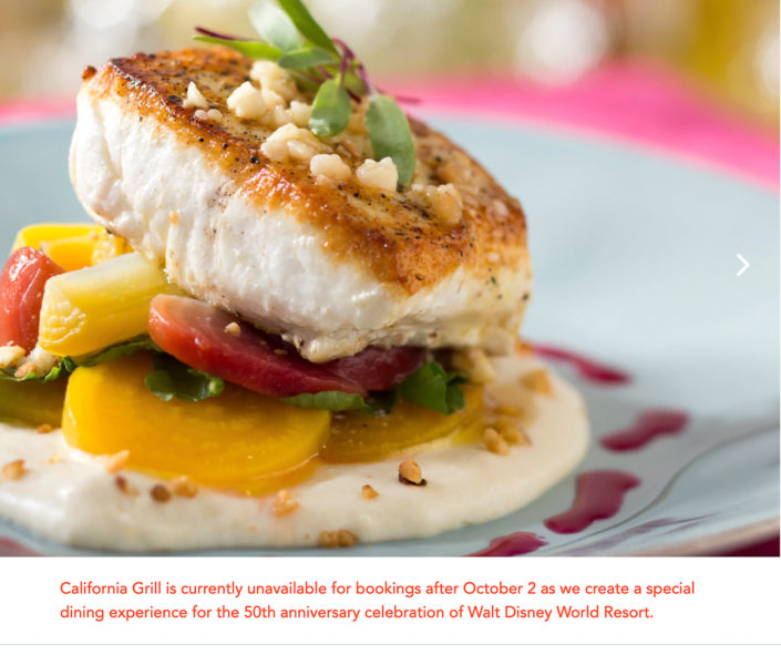 California Grill New Special Dining Experience