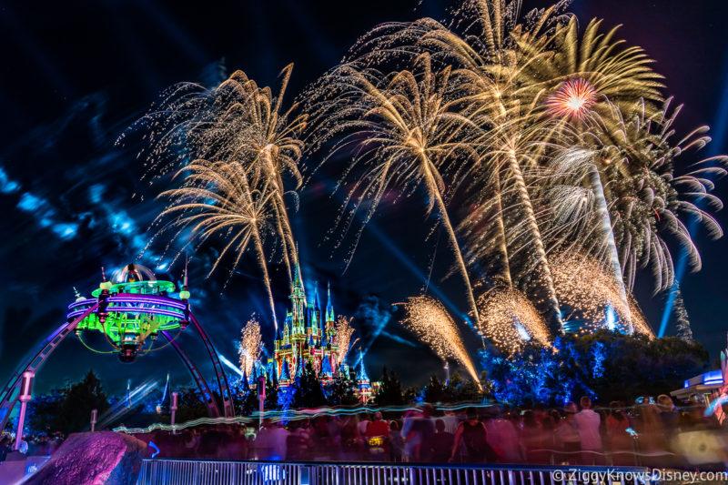 Magic Kingdom Fireworks over the bridge