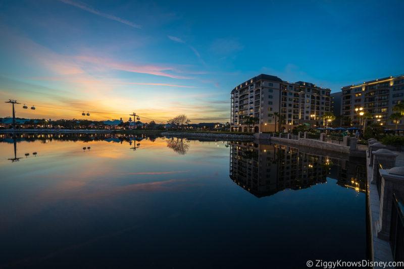 Disney Riviera Resort and lake at sunset
