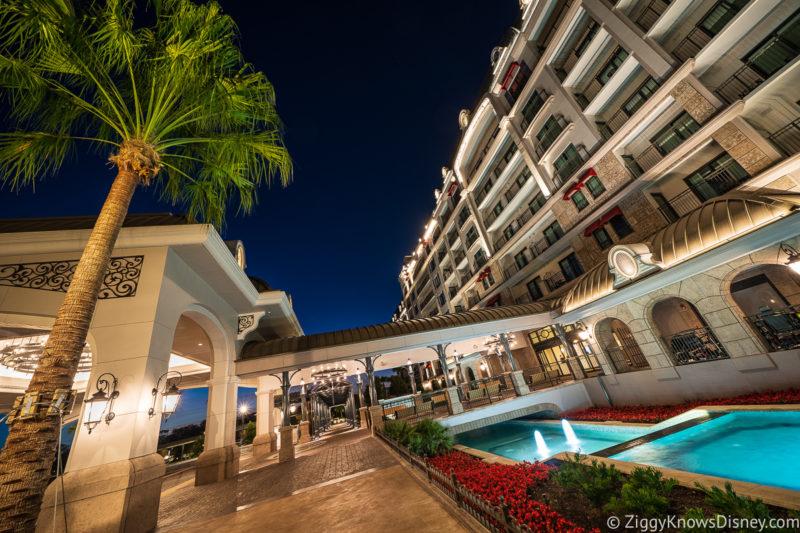 Front Entrance Disney's Riviera Resort at night