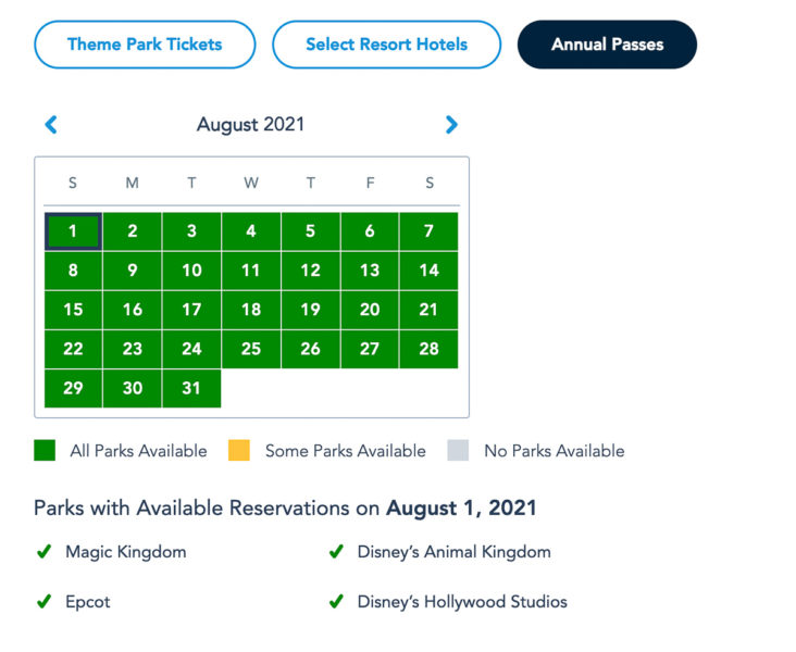 Disney Park Reservations August Annual Passholders