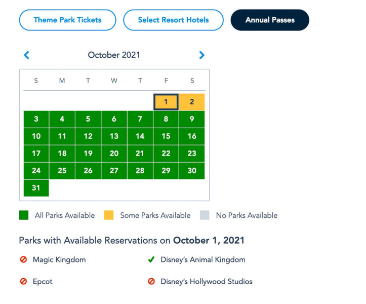 Disney Park Reservations October Annual Passholders