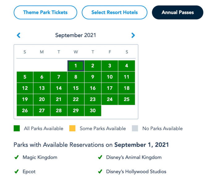 Disney Park Reservations September Annual Passholders