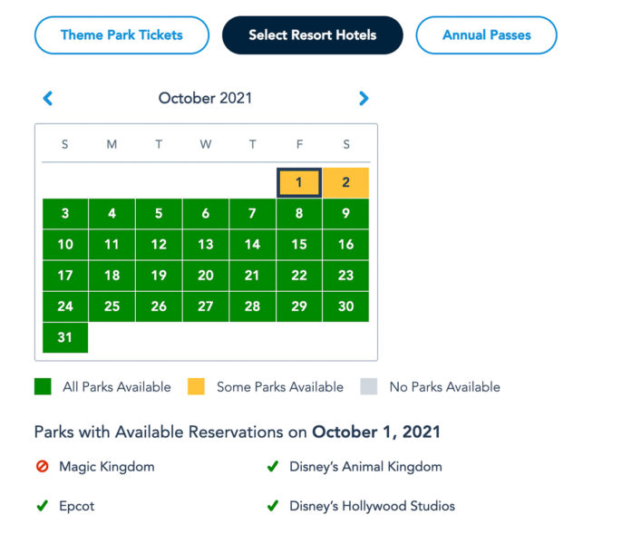 Disney Park Reservations October Resort Guests