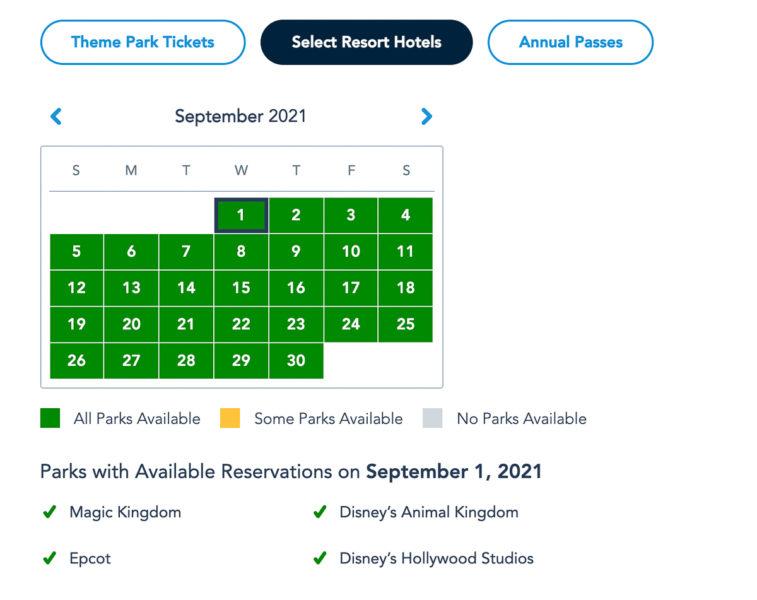 Disney Park Reservations September Resort Guests