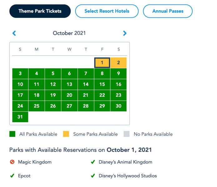 Disney Park Reservations October Theme Park Guests