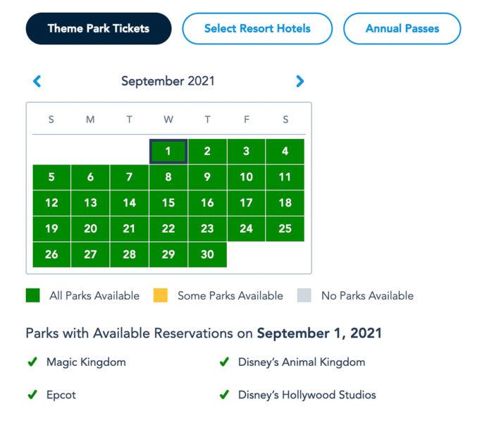 Disney Park Reservations September Theme Park Guests