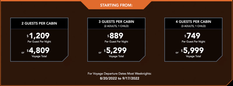 Star Wars: Galactic Starcruiser Room Prices