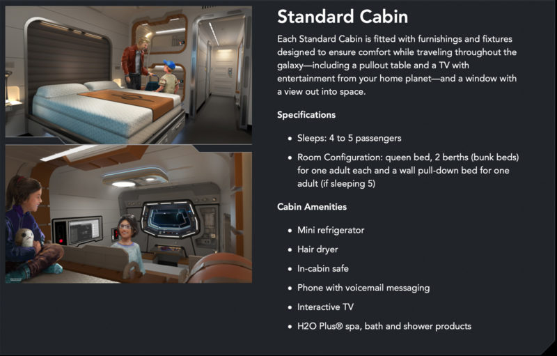 Star Wars: Galactic Starcruiser Rooms Standard Cabin