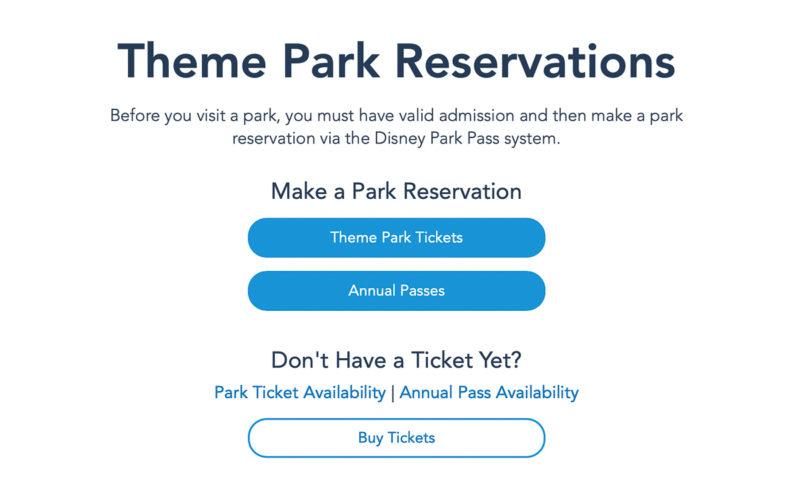 Disney Theme Park Pass Reservations