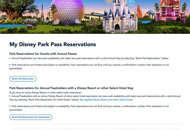 Disney Park Pass Reservations screen