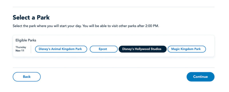 Select a Park Park Pass Reservations