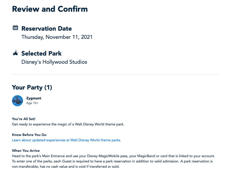 Review and Confirm Park Pass Reservations