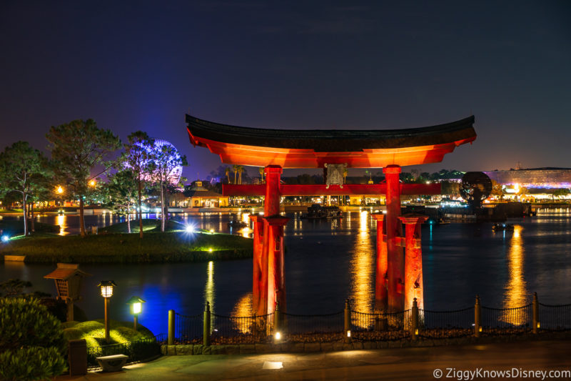 Japan pavilion gate and World Showcase Lagoon in EPCOT