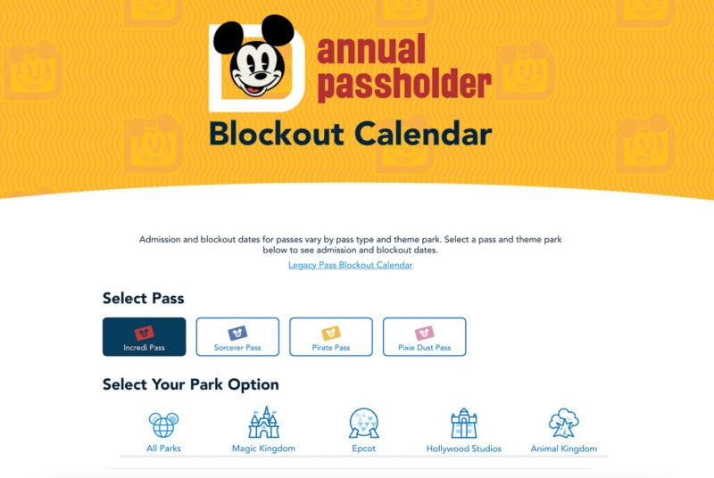 Disney World Annual Pass Blockout Calendar