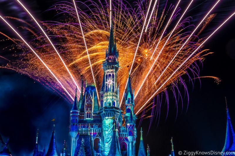 fireworks bursting over Cinderella Castle