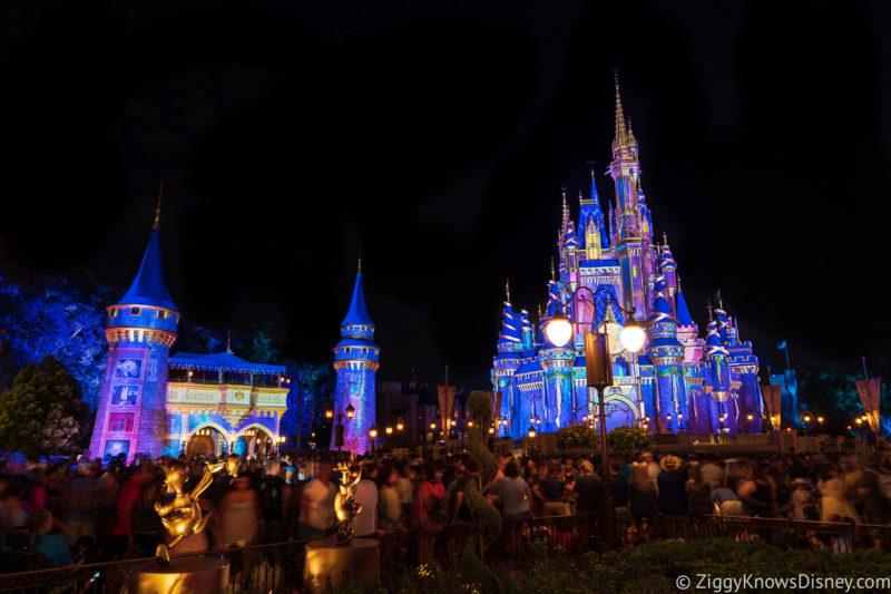 Cinderella Castle at night before Disney Enchantment