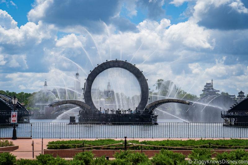 Disney Harmonious barges in World Showcase Lagoon